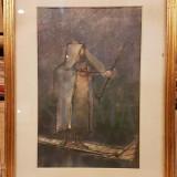 TABLOU, ION IANCUT, PLUTAS, pastel - Pictor roman