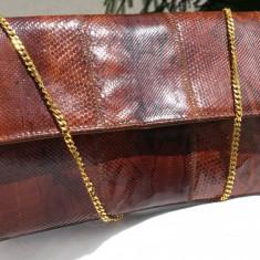 Geanta VINTAGE piele sarpe-piele exotica-piele piton autentica