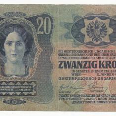 AUSTRIA AUSTRO-UNGARIA 20 KRONEN COROANE 1913 [16] F, scrie si in romana - bancnota europa
