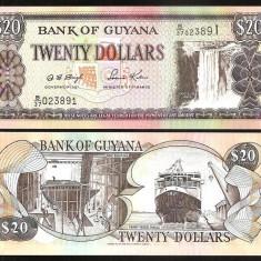 !!! GUYANA - 20 DOLARI (2000) - P 30 b2 - UNC / SEMN. DIN SCAN - bancnota america