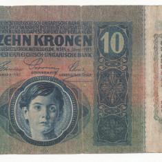 AUSTRIA AUSTRO-UNGARIA 10 KRONEN COROANE 1915 [8] F, fara supratipar - bancnota europa