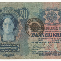 AUSTRIA AUSTRO -UNGARIA 20 KRONEN COROANE 1913 [06] TIMBRU SPECIAL ROMANIA - bancnota europa