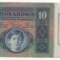 AUSTRIA AUSTRO-UNGARIA 10 KRONEN COROANE 1915 [1] XF+, fara supratipar - bancnota europa
