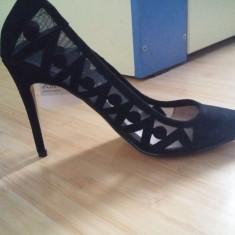 Pantofi Mango, din piele intoarsa, noi cu eticheta, marimea 38 - Pantof dama Mango, Culoare: Negru, Cu toc