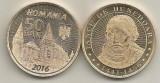 ROMANIA 50 BANI 2016 , IANCU DE HUNEDOARA - UNC  [ A ] din fisic  , necirculata, Alama