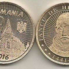 ROMANIA  50 BANI 2016  , IANCU  de  HUNEDOARA  - UNC ,  din fisic