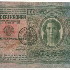 AUSTRIA AUSTRO-UNGARIA 100 KRONEN COROANE 1912 [1] TIMBRU SPECIAL ROMANIA VF - bancnota europa