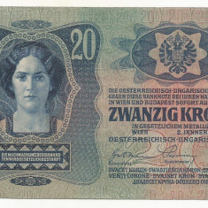 AUSTRIA AUSTRO-UNGARIA 20 KRONEN COROANE 1913 [3] XF+, scrie si in romana - bancnota europa