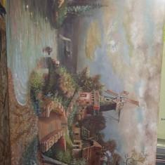 Tablou vechi semnat si datat,pictura veche pictata pe panza fara rama,Tp.Gratuit