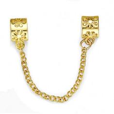 Lant de siguranta STAR GOLD SHINE placat aur 14k pt bratara PANDORA, Femei