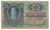 AUSTRIA  AUSTRO-UNGARIA  20 KRONEN  COROANE 1913  [5] XF ,  scrie si in romana