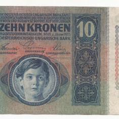 AUSTRIA AUSTRO-UNGARIA 10 KRONEN COROANE 1915 [5] XF, fara supratipar - bancnota europa