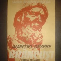 STEFAN GEORGESCU GORJAN - AMINTIRI DESPRE BRANCUSI