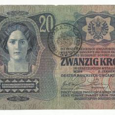 AUSTRIA AUSTRO -UNGARIA 20 KRONEN COROANE 1913 [04] TIMBRU SPECIAL ROMANIA - bancnota europa
