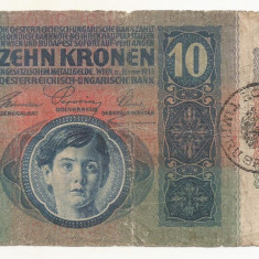 AUSTRIA AUSTRO-UNGARIA 10 KRONEN COROANE 1915 [03] Timbru Special ROMANIA - bancnota europa