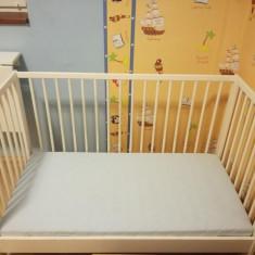Pat copil 60x120 - Patut lemn pentru bebelusi, Altele, 120x60cm, Alb