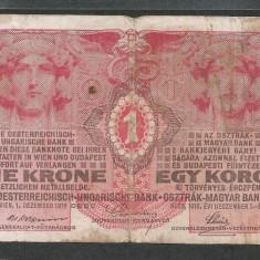 AUSTRIA AUSTRO - UNGARIA 1 KORONA COROANA KRONE 1916 [13] P-20 - bancnota europa