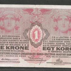 AUSTRIA AUSTRO - UNGARIA 1 KORONA COROANA KRONE 1916 [8] P-20, F - bancnota europa