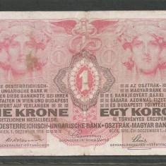 AUSTRIA AUSTRO - UNGARIA 1 KORONA COROANA KRONE 1916 [12] P-20 - bancnota europa