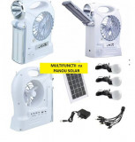 Kit Solar Lampa LED 1W+28SMD 3 Becuri led Ventilator Radio USB incarcare telefon
