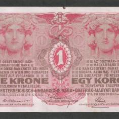AUSTRIA AUSTRO - UNGARIA 1 KORONA COROANA KRONE 1916 [3] P-20, VF+ - bancnota europa