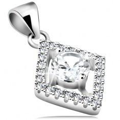 Pandantiv din argint 925, contur de romb cu zirconii rotunde transparente