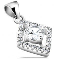 Pandantiv din argint 925, contur de romb cu zirconii rotunde transparente - Pandantiv argint