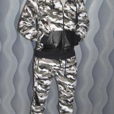 Trening camuflaj cu insertii piele ecologica pantaloni + bluza toamna 2017 - Trening barbati, Marime: S, M, L, XL, XXL, Culoare: Din imagine, Bumbac