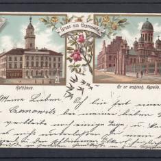 CERNAUTI GRUSS AUS CZERNOWITZ PRIMARIA CATEDRALA LITOGRAFIE CIRCULATA 1896 - Carte Postala Bucovina pana la 1904, Printata