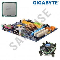 KIT Placa de baza GIGABYTE+Procesor Intel Dual Core E5400 2.7GHz+Cooler+GARANTIE, Pentru INTEL, LGA775, DDR2, Contine procesor, MicroATX