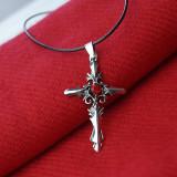 Medalion / Pandantiv / Colier / Lantisor - Crucea Red Sacred Heart Crystal - Pandantiv fashion