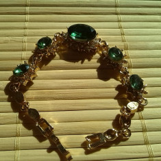 Bratara Gold Filled Cristale austriece Verzi - Bratara placate cu aur