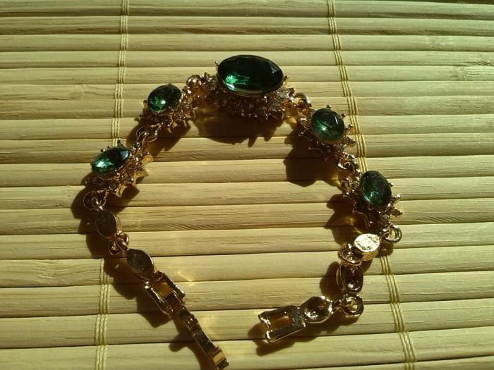 Bratara  Gold Filled Cristale austriece Verzi foto mare