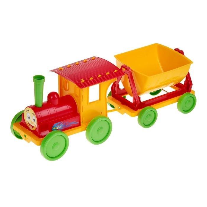 Trenulet pentru copii Doloni rosu cu galben