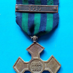 CRUCEA COMEMORATIVA RAZBOI 1916-18 CU BARETA 1919 - Medalii Romania, An: 1918