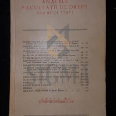 G. G. MIRONESCU, ANALELE FACULTATII DE DREPT DIN BUCURESTI, ANUL I, NUMARUL 4, BUCURESTI, 1939 - Carte Drept comercial
