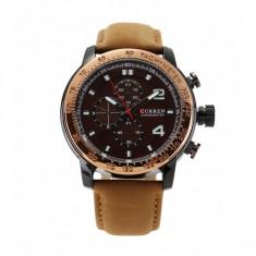 Ceas casual barbatesc Chronometer Tachymeter 8190, maro - Ceas barbatesc Curren