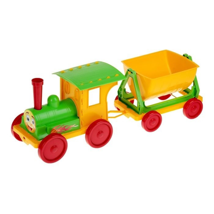 Trenulet pentru copii Doloni verde cu galben
