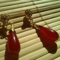 Cercei Gold Filled Jad Rosu - Cercei placati cu aur