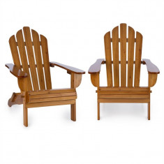 Blumfeldt VERMONT, maro, set de 2 scaune de grădină, Adirondack, 73X88X94 cm, pliabil