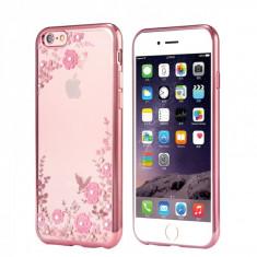 Husa carcasa din silicon electroplating cu cristale pentru iphone 7 Plus model flori, rose - Husa Telefon