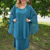 Rochie de culoare turcoaz, cu decolteu mic si decor de strasuri (Culoare: TURCOAZ, Marime: 62) - Rochie de seara