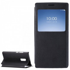 Husa flip s-view One Plus 2, negru - Husa Telefon, Piele Ecologica, Cu clapeta