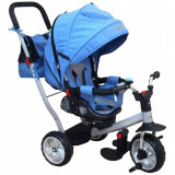 Tricicleta cu spatar rabatabil Extra Comfort Travel Blue Baby Mix - Tricicleta copii