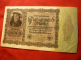 Bancnota 50 000 Marci  1922 , Germania,burelaj violet,litera F deplasata