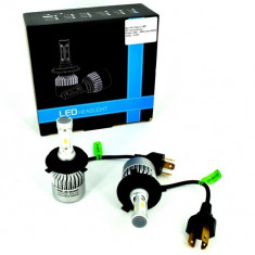 Set Bec H4 2 faze cu LED S2 chip led Korea Putere: 40W - 4800 lumen 6000k 12-24v