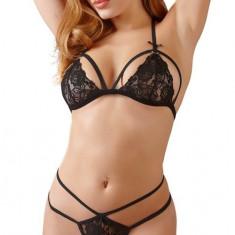 Set Chilot Si Sutien Negru - Set lenjerie sexy, Marime: S, M