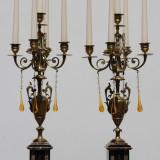 Pereche de sfesnice - bronz si marmura