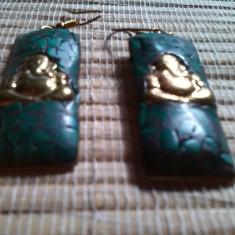 Cercei gold filled cu Malachit Buddha - Cercei placati cu aur