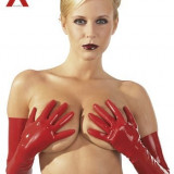Manusi Latex Rosii - Lenjerie sexy femei, Marime: S, Rosu